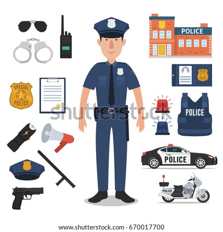 Police officer with police professional equipments.