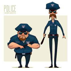 police officers, policeman, cartoon character, vector illustration isolated on background