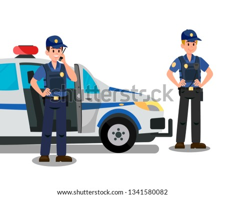 Police Officers Ready to Work Cartoon Characters. Bodyguards and Police Car Flat Vector Illustration. Security Service Staff. Policemen on Mission Clipart. Inspectors, First Respondents