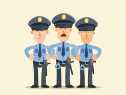 Police officers standing near to each other like wall. Policeman protective barrier, police cordon. Stop riot, protest, unrest. Vector illustration, flat design cartoon style. Isolated background.