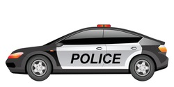 Police patrol car cartoon vector illustration. Law enforcement, police force official transport flat color object. Policeman vehicle. Modern sedan with flashing lights isolated on white background