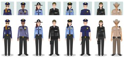 Police people concept. Set of different detailed illustration and avatars icons of SWAT officer, policeman, policewoman and sheriff in flat style on white background. Vector illustration.