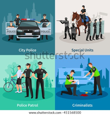 police people 2x2 flat concept