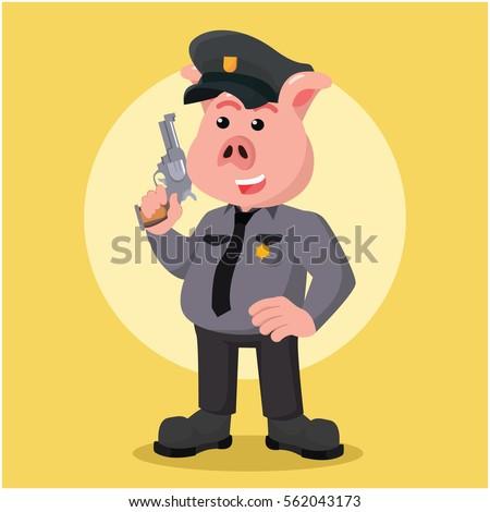 police pig holding a gun
