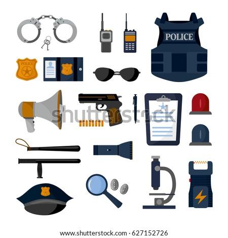 Police professional equipment set. Handcuffs, bulletproof vest, electroshocker, truncheon, badge, weapons and other element.