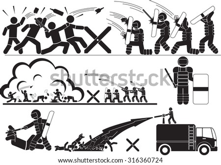 police quell rioting icons set