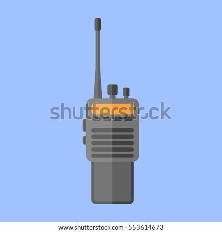 Police radio transceiver set isolated on blue background. Flat style icon. Vector illustration. Stock photo ©