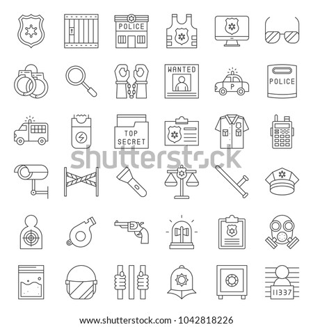 Police related icon set, outline vector