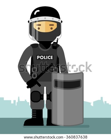 police riot officer in uniform