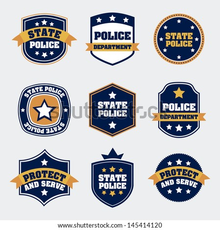 police seals over white background vector illustration