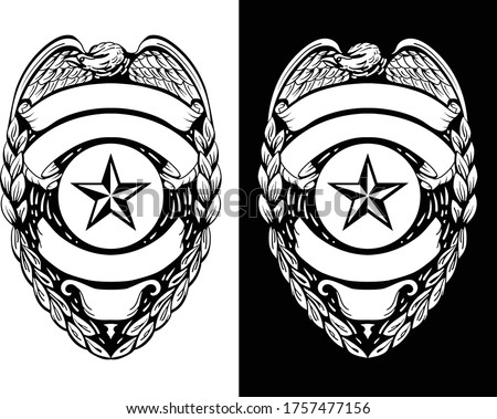 Police, Sheriff,  Law Enforcement Badge Isolated Vector Illustration in both Black Line Art and White Versions Stock fotó ©
