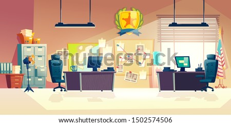 Police station or department, investigation bureau room interior with police officers work desks, detectives, special agents workplaces, office furniture, map and pin board cartoon vector illustration