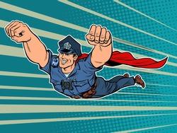 police superhero. The policeman COP is flying. Pop art retro vector illustration 50s 60s kitsch vintage style