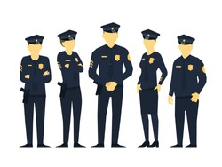 Police team. A group of policemen. Women and men in uniform. Law and order. Law enforcement officers. Flat vector.