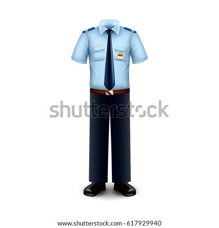 Police uniform isolated on white photo-realistic vector illustration
