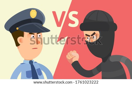 Police vs criminal, offender. Law versus crime. Policeman standing against robber, portrait. Security guard and thief. Vector illustration, flat design cartoon style. Versus background. Сток-фото ©
