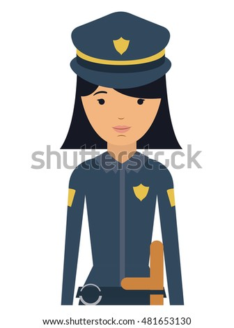 police woman and cartoon icon