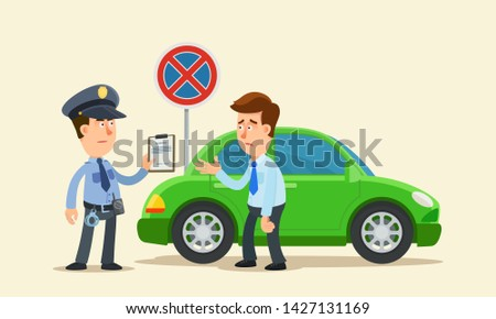 Police writing a parking fine to a car parked in a prohibited place. Driver is very disappointed. Vector illustration, flat design, cartoon style. Side view. Isolated background.