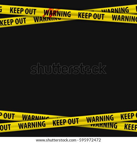 Police yellow stripes keep out with a stain of blood and warning signs. Police tape, police ribbon variation. Caution text. Vector illustration.
