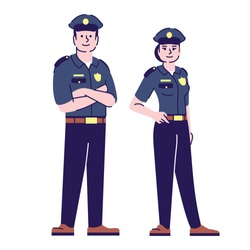 Policeman and policewoman flat vector characters. Police officers, cop in uniform cartoon illustration with outline. Sheriffs, inspectors. Security guard, police patrol workers isolated on white