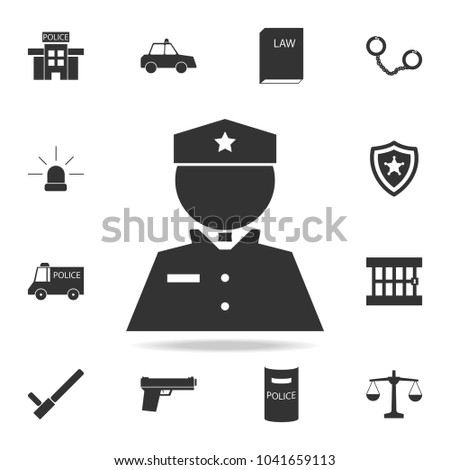 policeman icon. Detailed set of police element icons. Premium quality graphic design. One of the collection icons for websites, web design, mobile app on white background