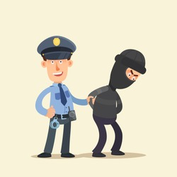 Policeman, security guard, caught the thief. The cop satisfied, robber disappointed. Policeman holding robber hand. Vector illustration, flat cartoon style. Isolated background, side view.