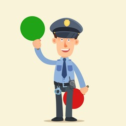 Policeman show green sign - go, start. Vector illustration, flat design, cartoon style, isolated background.