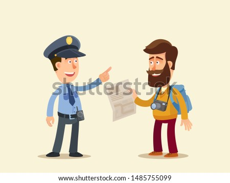 policeman showing the way for
