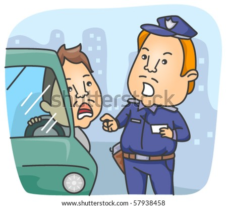Policeman talking to driver - Vector