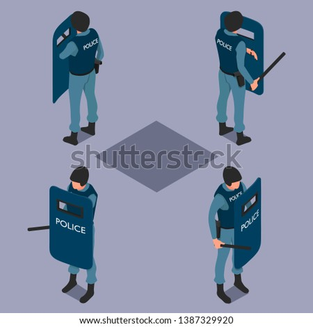 Policeman with a shield and a baton. Uniformed police in isometry in different angles.