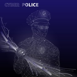 """Policeman with data flow in his hand and text """"Cyber police"""". Tech style vector illustration."""