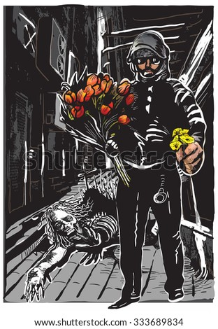 policeman with flowers in his