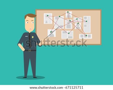 Policeman with investigation board.Crime investigation flat design concept