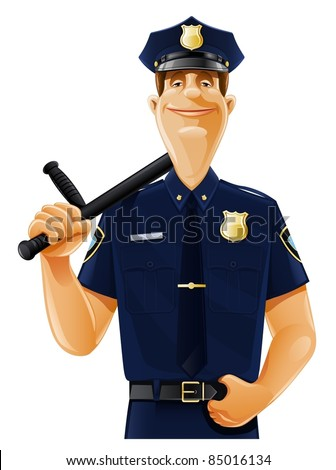 policeman with truncheon vector illustration isolated on white background