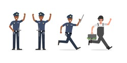 Policeman working character vector design.