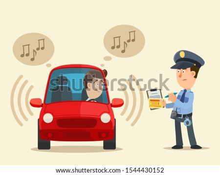 policeman writes a fine to the