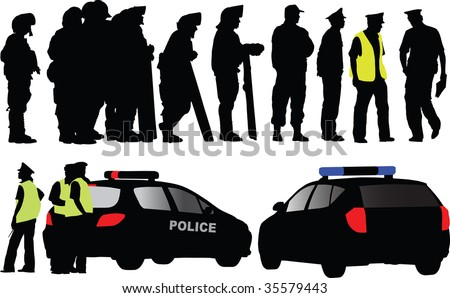 Policemen and police car silhouettes. Different clothes like offensive,regular uniform, street patrol. Over ten persons.