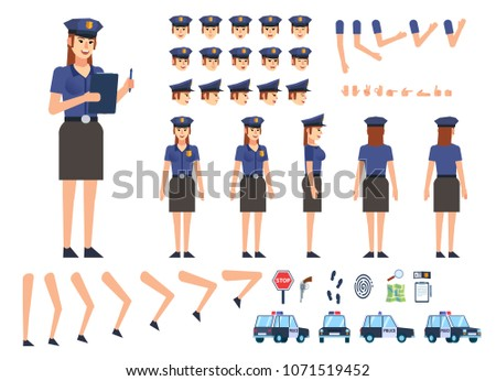 Policewoman creation kit. Create your own pose, action, animation. Various emotions, gestures, design elements. Flat design vector illustration