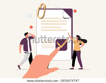 Policy as legal principles statement with text protocol tiny person concept. Procedure regulation document with security and risks administration vector illustration. Privacy data protection banner. Photo stock ©