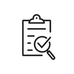 Policy compliance icon with checklist verification with loupe. Quality control result check on paper form with clipboard. Outline business audit report document with checkmark. Editable line vector V4