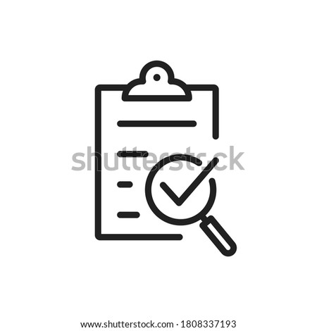 Policy compliance icon with checklist verification with loupe. Quality control result check on paper form with clipboard. Outline business audit report document with checkmark. Editable line vector V4 Photo stock ©