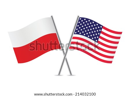 polish and american flags