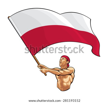 polish fan waving flag