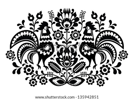 Polish floral embroidery with roosters - traditional folk pattern ストックフォト ©
