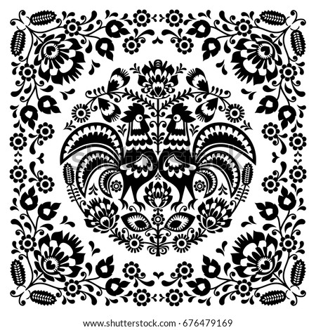 Polish floral folk art square pattern with rooster ストックフォト ©