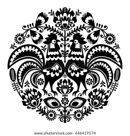 Polish folk art floral round embroidery with roosters, traditional pattern - Wycinanki Lowickie  ストックフォト ©