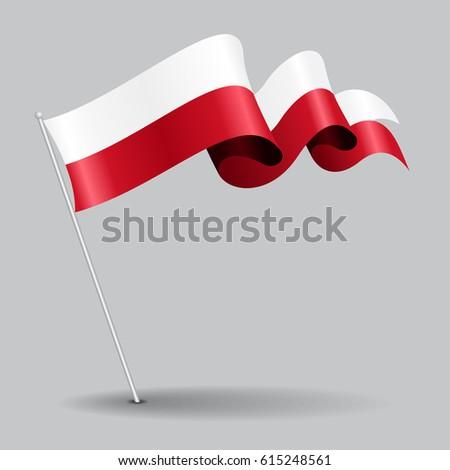 polish pin icon wavy flag