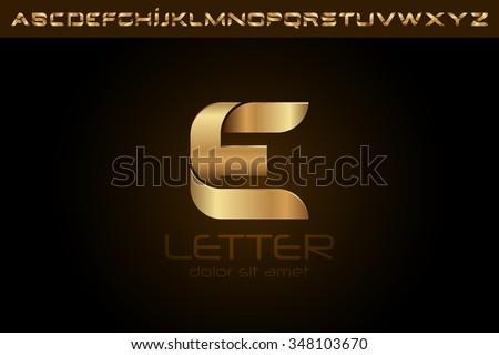 polished gold letter e logo