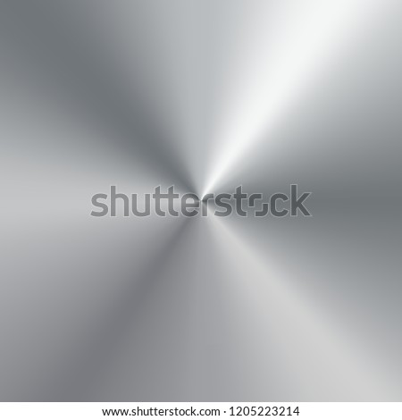 Polished plate metallic conical gradient of silver. Texture background. Vector Illustration