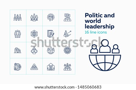 Politic and world leadership icons. Set of line icons on white background. Globe, world leaders, population, statistic. Vector illustration can be used for topics like politics, economy